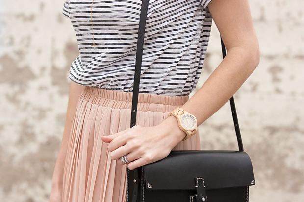 Jord Watch, Striped Tee, Blush Pleated Skirt, Madewell Bag