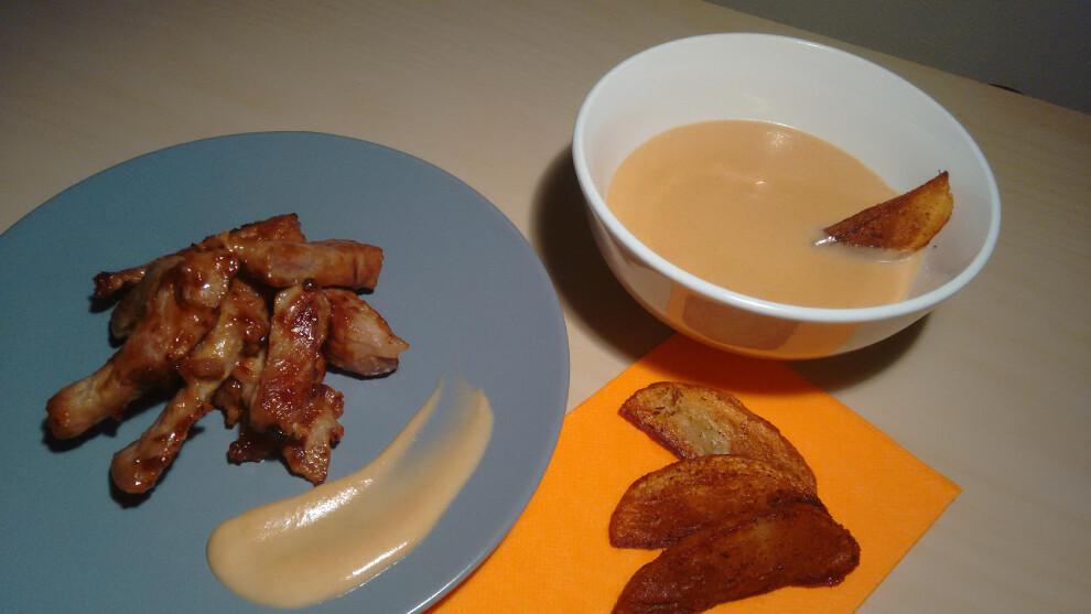 Cerdo caramelizado con patatas deluxe