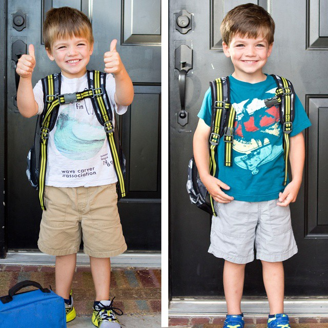 "First day/last day of pre-k3. At 4.5yrs old, he wants to grow up and be a ""professional trash collector"" #mboys2015"
