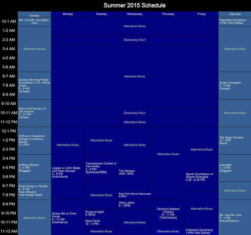 2015 Summer Schedule
