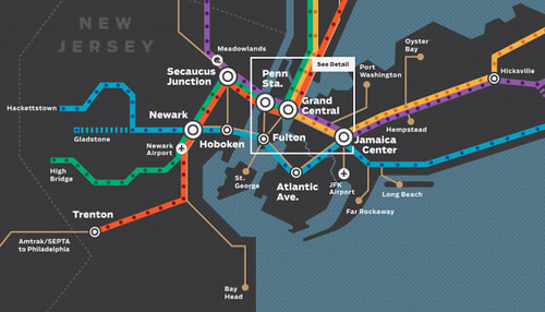 Regional Rail Map for Greater NYC