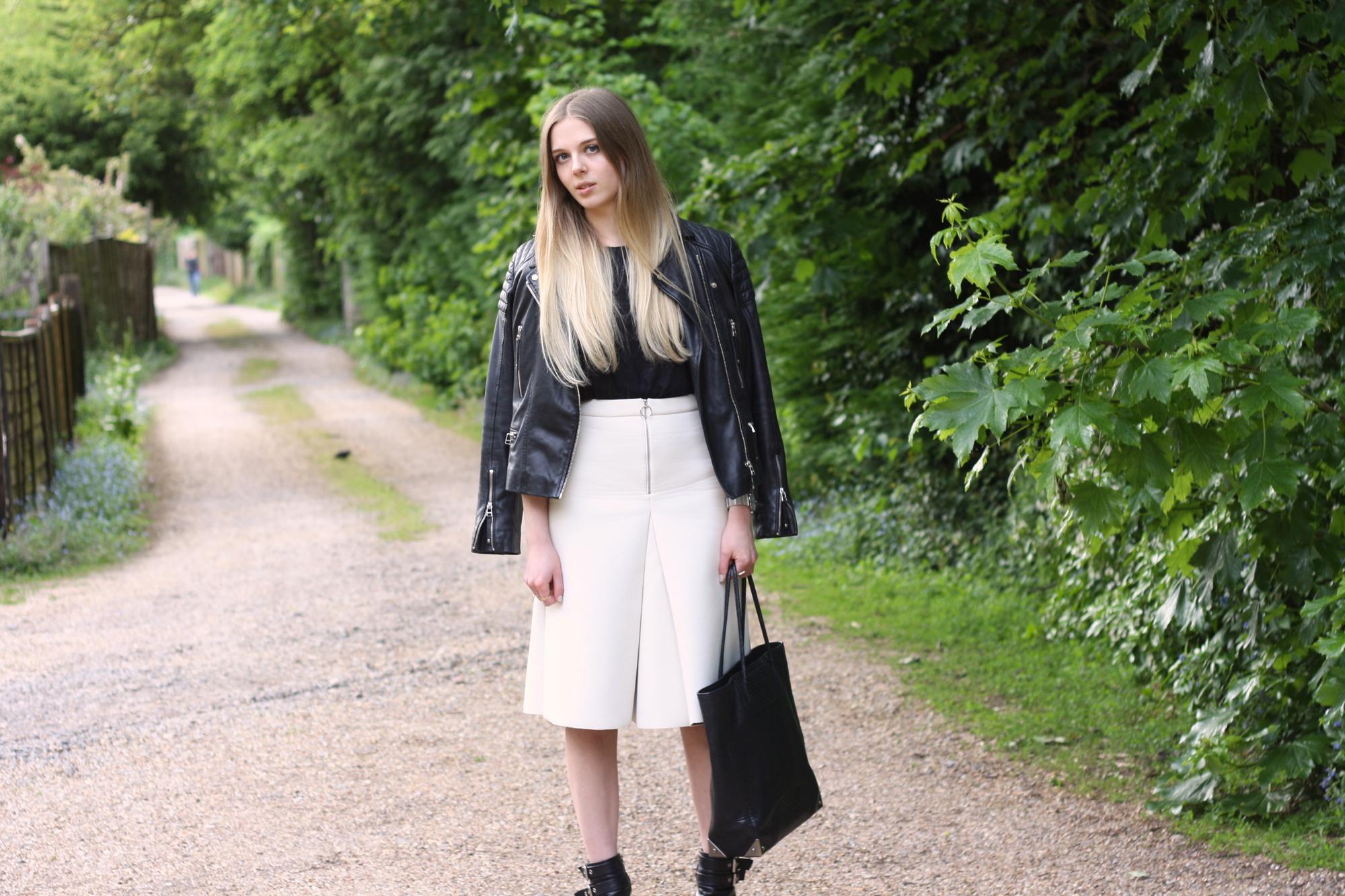 Topshop cream scuba skirt