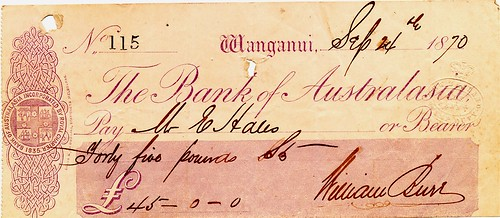 02 Bank of Australasia Wanganui (New Zealand) Cheque 1870