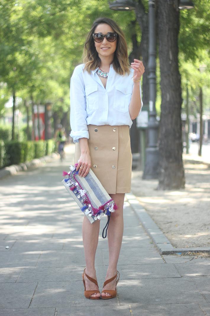 Beige Skirt With Blue Shirt08