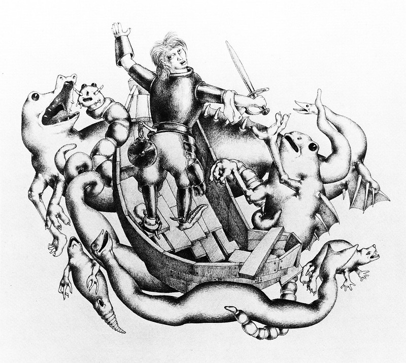 Otto Neumann - Grotesque 4 - Gladiator Defending Himself in a Boat, 1920-22
