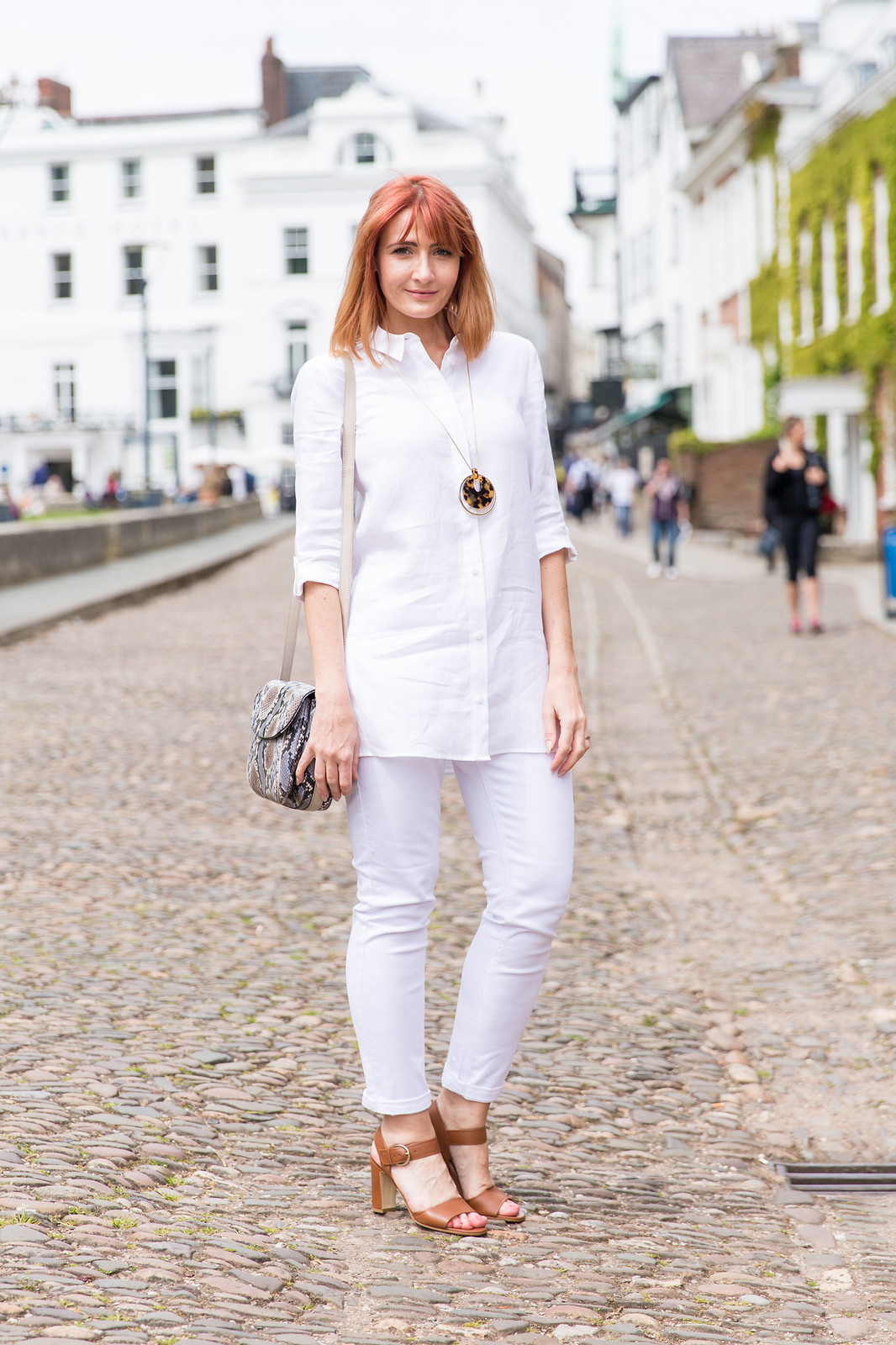 Hobbs SS16: White linen shirt, white jeans, snakeskin print satchel, tan sandals | Not Dressed As Lamb (photo: Kate Forster)