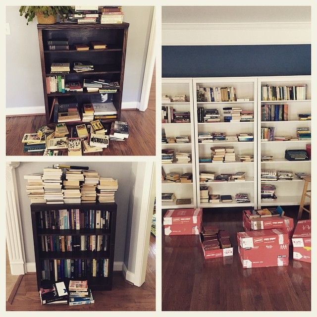 The great book organization project, halfway through. Consider this a PSA about what happens when two English professors get married.