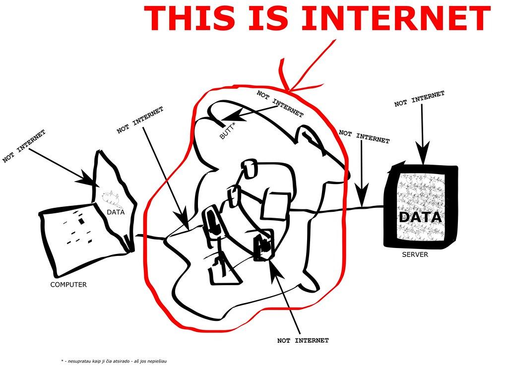Šitoje labai tikslioje diagramoje matome kur yra internetas ir kur nėra internetas.