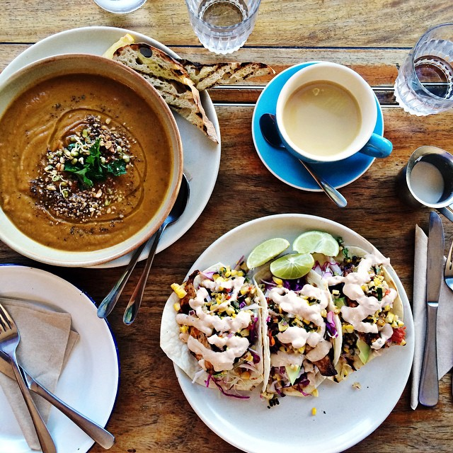 We totally do more than eat and go to the beach when on holidays... there's sleeping, and walking and oh never mind, it's all eating and beaching.  One last round of fish tacos plus a roasted sweet potato soup and almond milk chai @roadhousebyronbay.