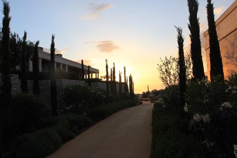 Sunset at Amanzoe main restaurant