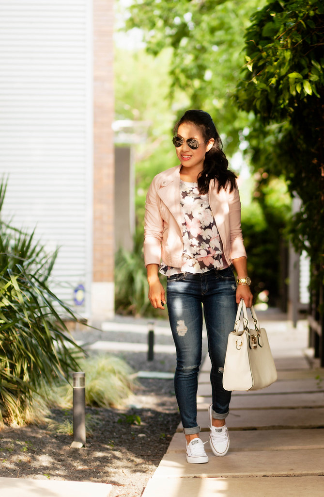 cute & little blog | petite fashion | pink blush moto jacket, floral chiffon top, ag distressed jeans, converse chuck taylor sneakers | casual spring outfit