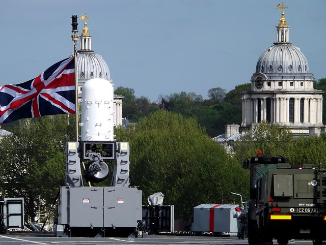 Phalanx CIWS on HMS Ocean L12 (2) @ Greenwich 10-05-15
