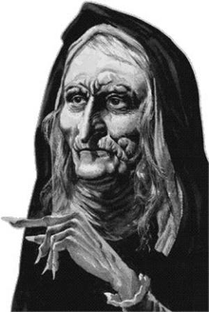 Imagen caricarutizada de la madre shipton con sus profecias