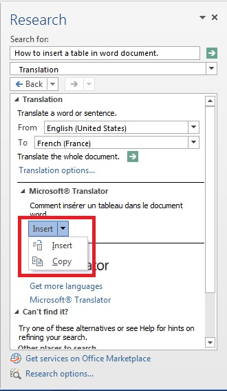 word 2013 review translate2