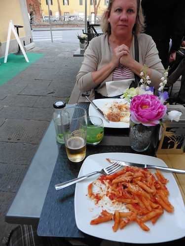Disappointing pasta at a restaurant in Pisa, Italy