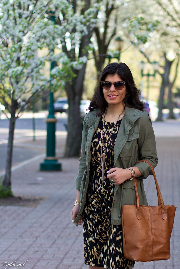 leopard dress, utility jacket, brown leather tote-2.jpg