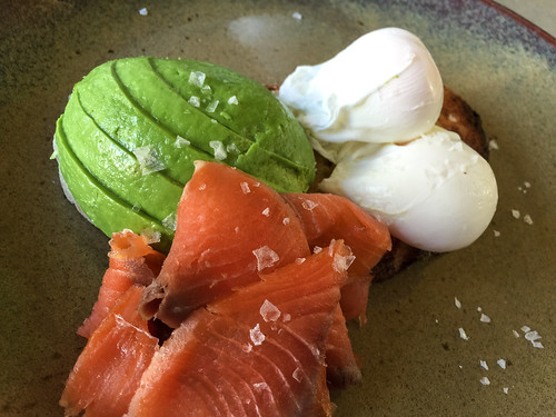 Poached eggs on toast with smoked salmon and avocado at Anvil Coffee ...