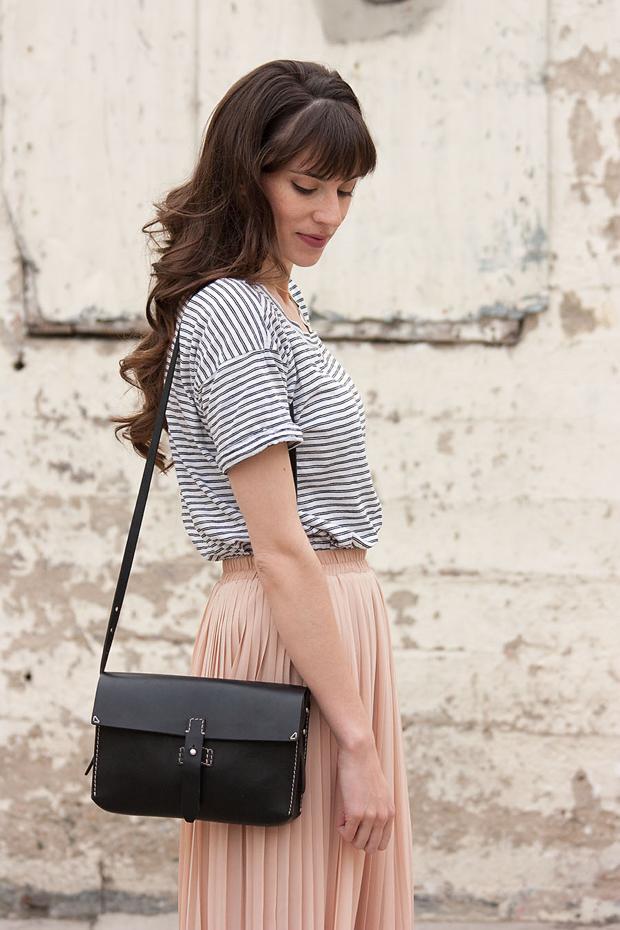Black Madewell Bag, Striped Tee, Blush Pleated Skirt