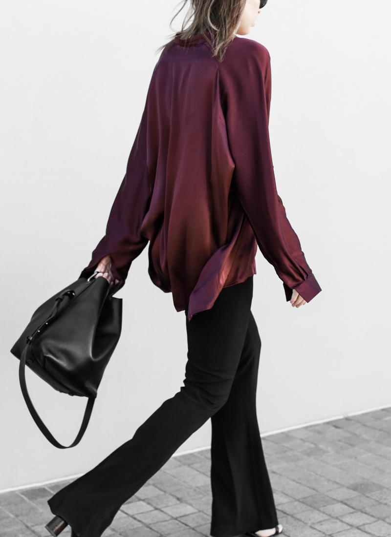 modern legacy, fashion blog, street style, flares, bucket bag, burgundy silk shirt (1 of 1)
