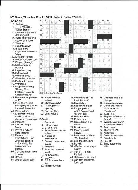NYT Thusday Puzzle - May 21, 2015