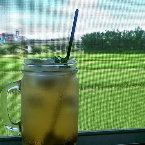 20150528 到台北辦事情遇到暴熱的氣溫 回到家趕緊來一杯 冰冰涼涼的薄荷蜂蜜青梅汁 吼~爽快!  #主婦自製酒  #我那療癒的廚房小窗