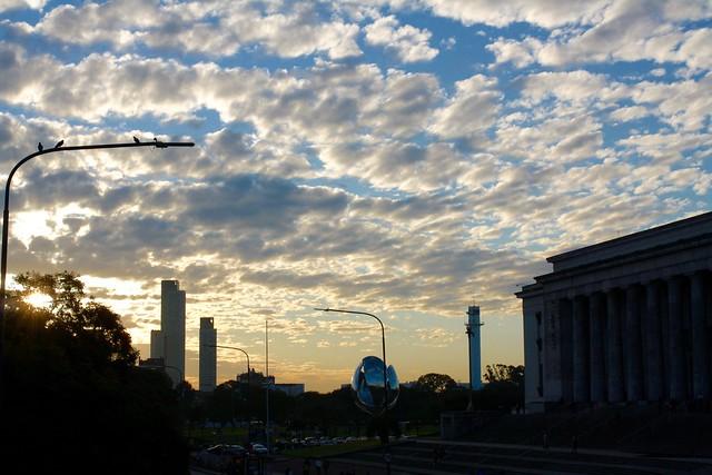 Sunset from bridge over Av del Libertador, Buenos Aires