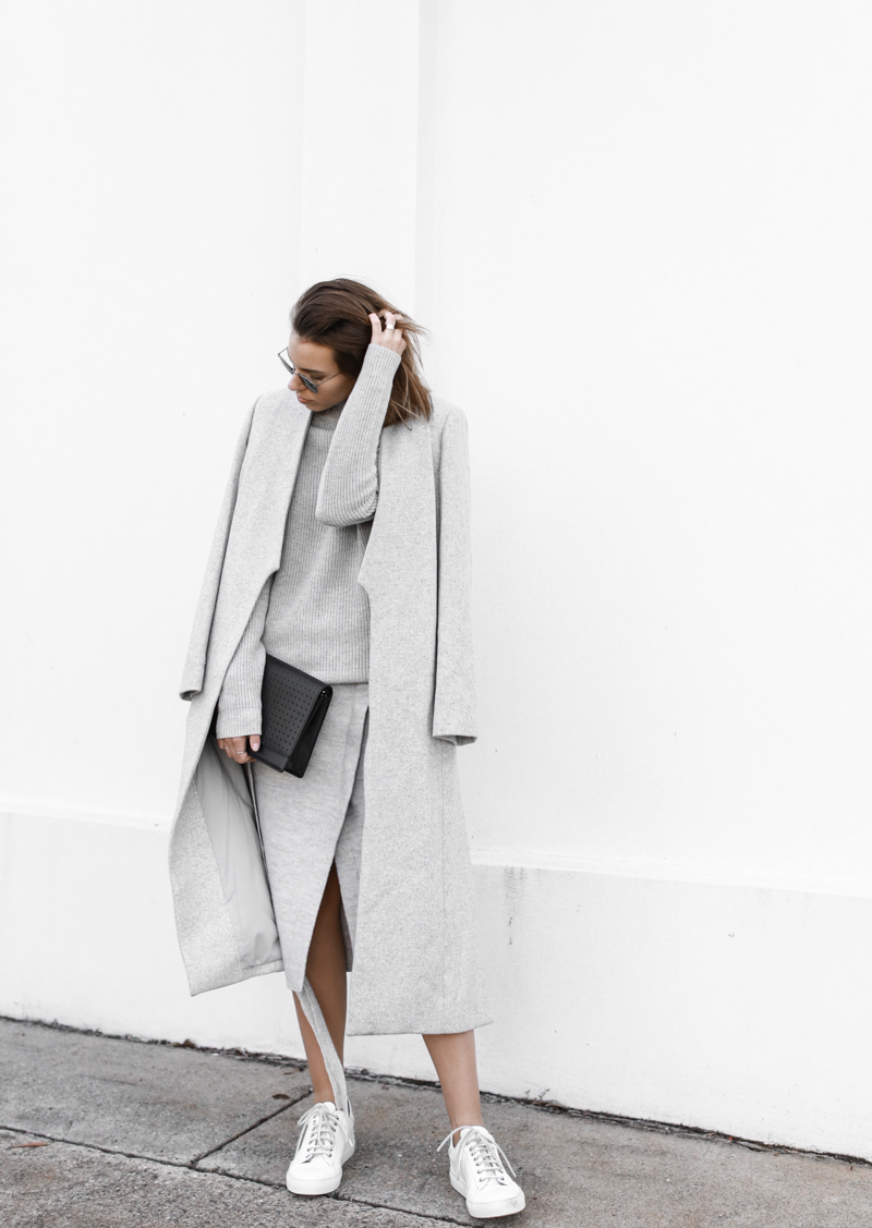 modern legacy, fashion blog, grey street style, minimal, grey coat, split skirt, Witchery (1 of 1)