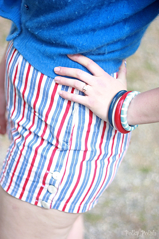 Red, white, and blue outfit details
