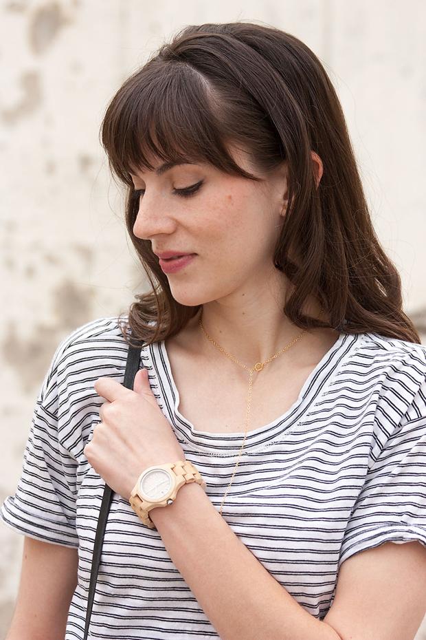 Striped Tee, Jord Watch, Gorjana Necklace