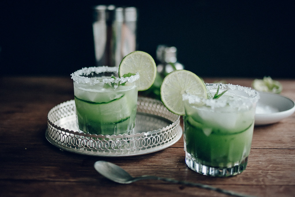 Cucumber, Mint & Lime Margarita Cocktails