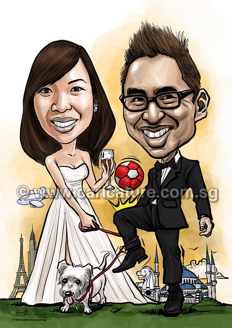 wedding couple digital caricatures soccer wine dog (watermarked)