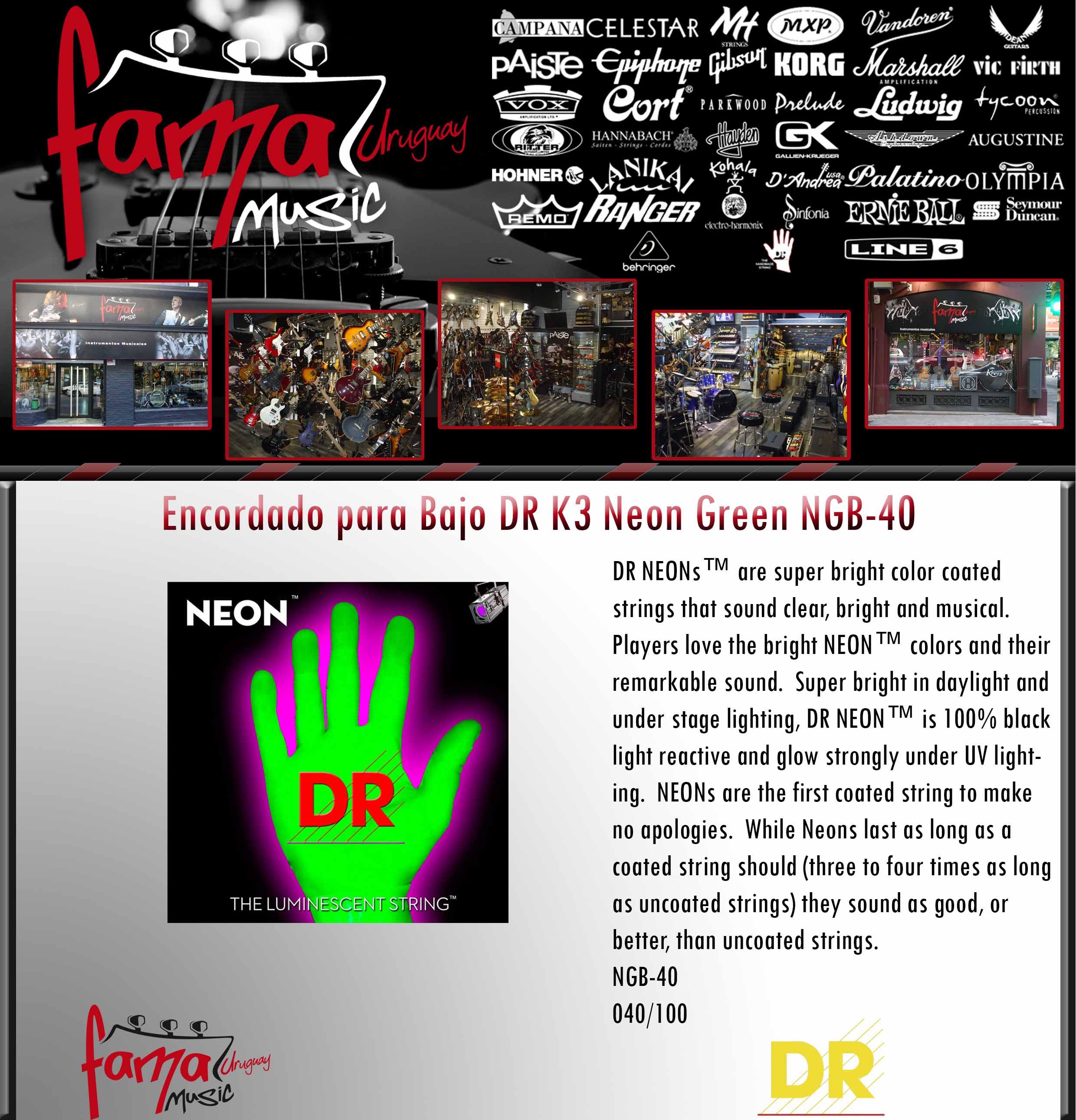 Encordado para Bajo DR K3 Neon Green NGB-40