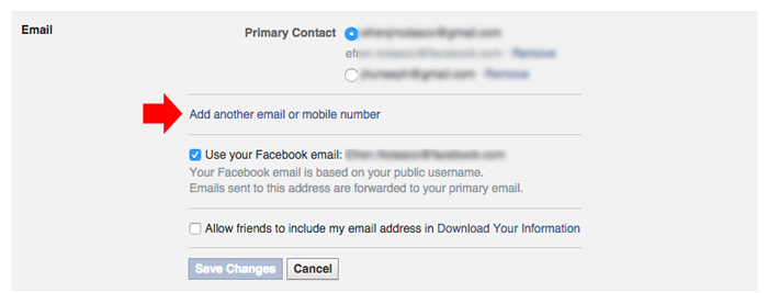 how to change Facebook primary email step 3
