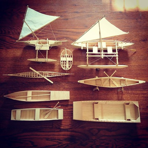 The current balsa fleet. Some boats have been given to my kid as toys, others a Viking funeral in the backyard fire pit.