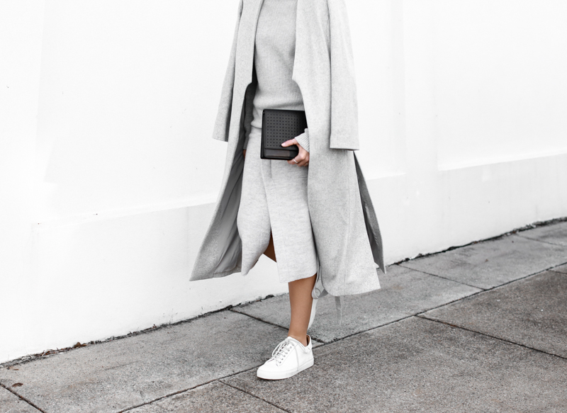 modern legacy, fashion blog, grey street style, minimal, grey coat, layers, white leather sneakers, split skirt, Anine Bing clutch  (1 of 1)