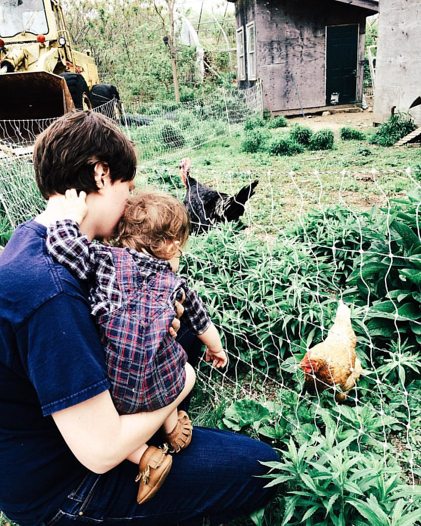 Checking out the chickens with Vicar Alissa. #newengland #farmgirl #countrylife #chicken