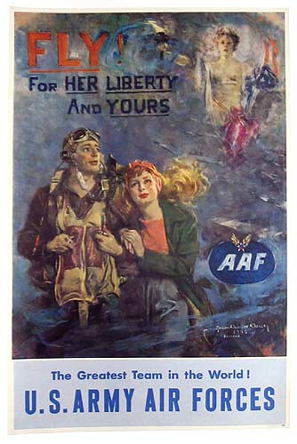 World War II Poster - Fly For Her Liberty