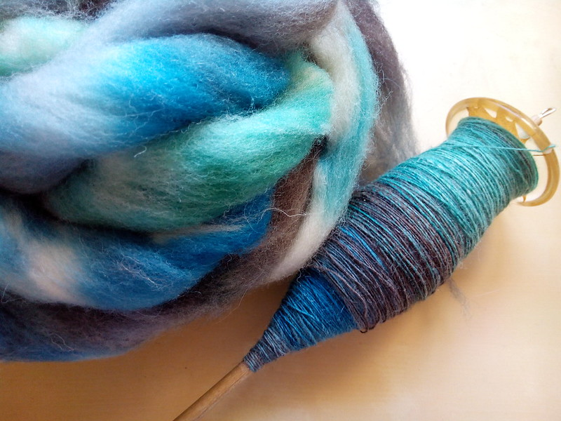 Finished the first single! Fiber is Southdown in the Seaglass colorway