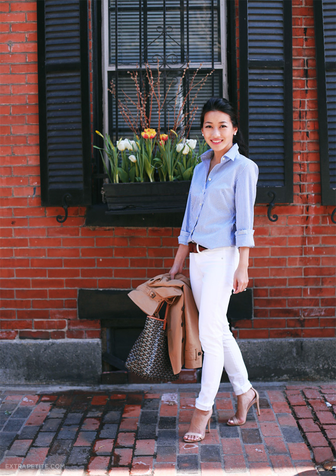 white jeans striped shirt outfit