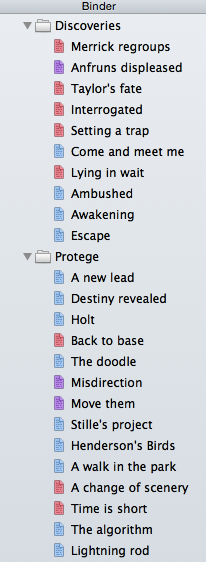 Scrivener's Binder shown with point of view colour highlighting
