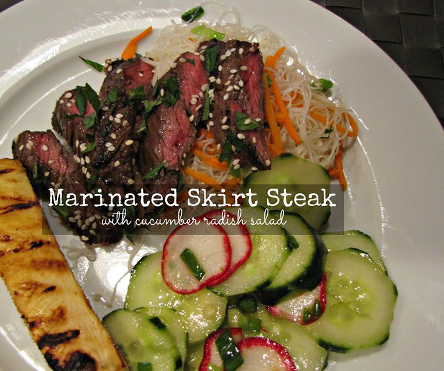 Marinated Skirt Steak with Cucumber Radish Salad