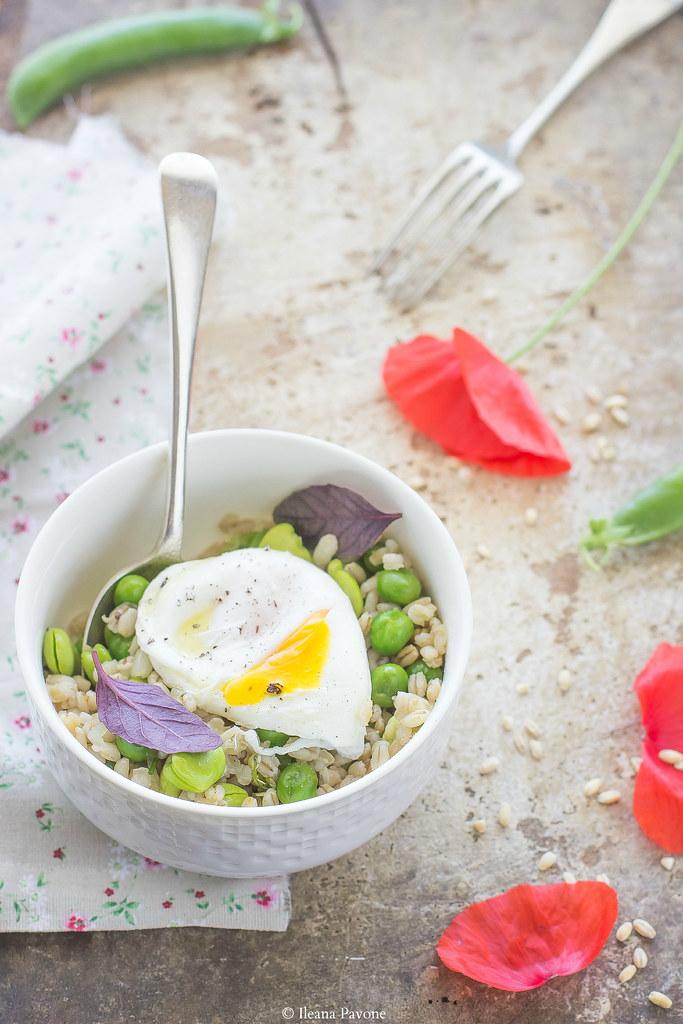 Insalata d'orzo con fave, piselli e uova in camicia3