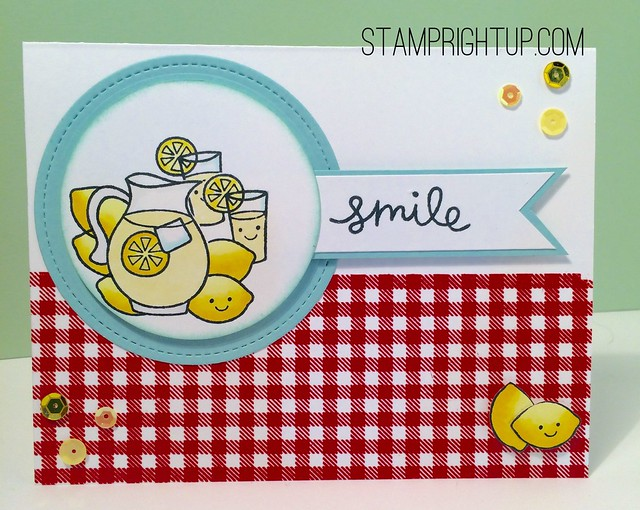 Lawn Fawn Make Lemonade with gingham backdrops perfect for summer smiles by Wendie Bee of Stamp Right Up