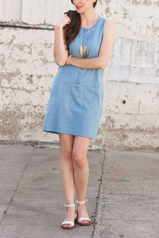 Everlane Chambray Dress, Jord Watch, iSanctuary Necklace
