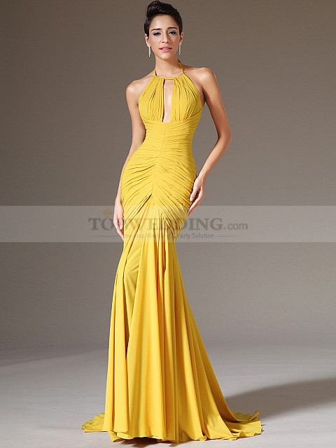Sexy-Keyhole-Neck-Pleated-Chiffon-Mermaid-Evening-Dress