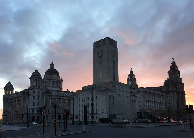 Sunset behind the Royal Liver Building