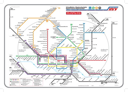 Hamburg, Germany, map of integrated transit system