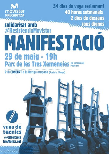 manifestació 29 de maig solidaritat amb #resistenciamovistar