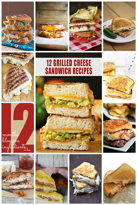 12 grilled cheese sandwich recipes collage.