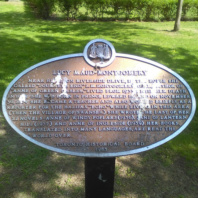 L.M. Montgomery plaque #toronto #lmmontgomery #anneofgreengables #swansea #princeedwardisland #plaque